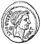 Caesar Head with the sign of a dictator, denarius of Julius Caes — Stock Photo