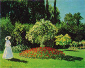 Claude Oscar Monet - Lady in the Garden (Sainte-Adresse) — Zdjęcie stockowe