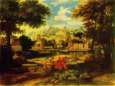 Etienne Allegrain - Landscape with the Finding of Moses — Stock Photo