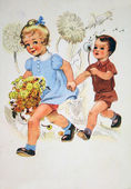Girl and boy with dandelions — Stock Photo