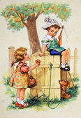 Girl holds out an apple to the boy, who sits on the dog house — Stock Photo