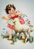Girl playing with the lamb — Stock Photo