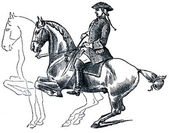 Graduate School of Riding - curvet, dotted line denotes the posi — Stock Photo