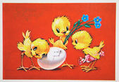 Three chick with flowers waiting for the fourth chick from an eg — Stock Photo