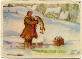 Illustration Nikolai Kochergin a Russian fairy tale By command of the pike, 1957 — Stock Photo