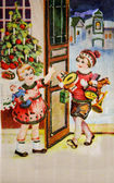 SWEDEN - CIRCA 1959: Greeting Christmas postcard printed in Sweden shows boy and girl with gifts, circa 1959 — Stock Photo