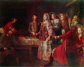 Mikhail shibanov - celebrando el contrato matrimonial, 1777 — Foto de Stock