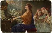 Svatá Cecílie hraje na varhany a zpívat Žalm tři dívky, ge — Stock fotografie