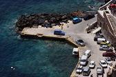 Barcos no cais em santorini — Fotografia Stock