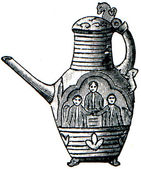 Scandinavian carved and decorated coffee pot — Stock Photo