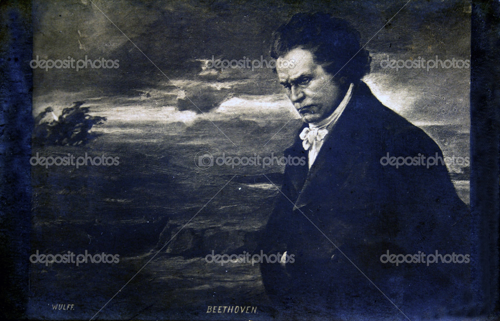 FRANCE - CIRCA 1905: Postcard printed in France shows composer Ludwig van Beethoven, circa 1905  Stock Photo #11863925