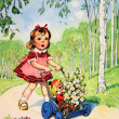 Girl carries the doll in the stroller with flowers — Stock Photo