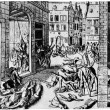 The massacre the Spaniards after the capture of Antwerp in 1876, — Stock Photo