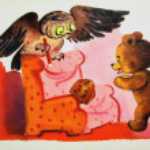 Постер, плакат: USSR CIRCA 1976: Reproduction of antique postcard shows Winnie the Pooh and Owl from the tales of Winnie the Pooh circa 1976