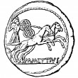 Постер, плакат: Young man in a chariot denarius of Julius Caesar Master Mettiu