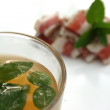 Royalty-Free Stock Photo: Bacon with mint, estragon and glass of julep