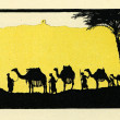 Merchant caravan of camels in oasis — Stock Photo