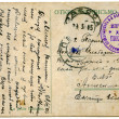 Stock Photo: Old mailing canseled postcard with handwriting