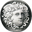 Upper part of ring with his head Medusa, Ancient Greece — Stock Photo #11878149