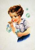 Boy blow bubbles — Stock Photo