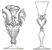 Venetian cups winged, 16th century — Stockfoto