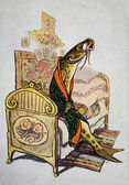 USSR - CIRCA 1957: Reproduction of antique postcard shows Wise burbot - illustration of the tale of Mikhail Saltykov-Shchedrin, circa 1957 — Stock Photo