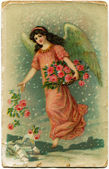 Angel sprinkles earth with roses — Foto Stock