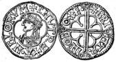 Penny of Danuta king of England, Oxford, 1014 - 1036 — Stock Photo