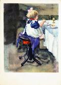 夕食の席で小さな女の子 — ストック写真