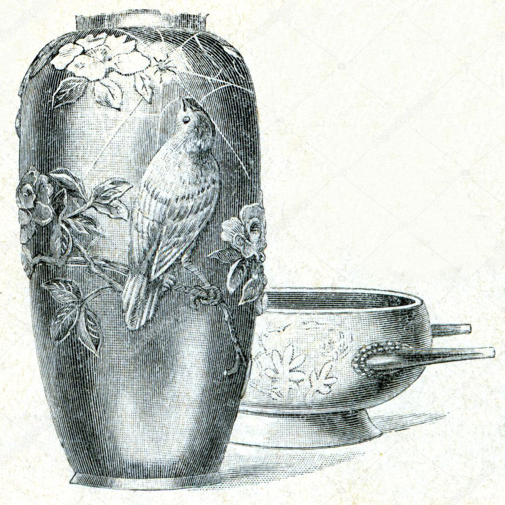 Bronze vase from Kyoto and washbasin - an illustration of the encyclopedia publishers Education, St. Petersburg, Russian Empire, 1896 — Stock Photo #11873956