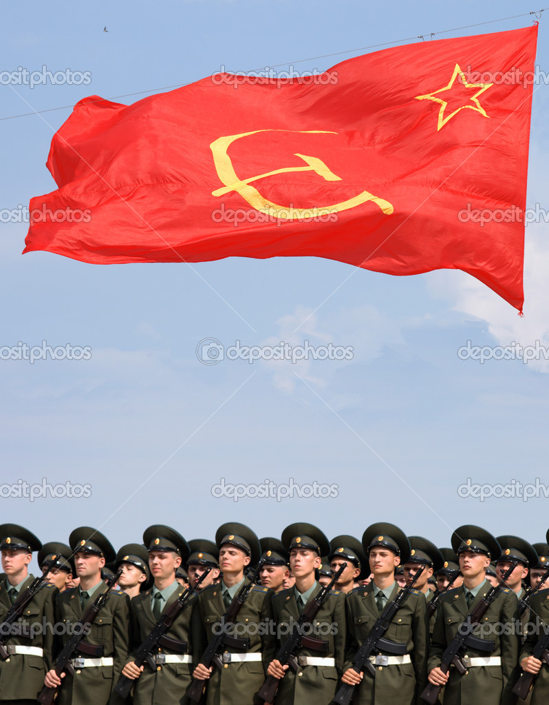 Red flag on soviet war parade — Stock Photo #11877733