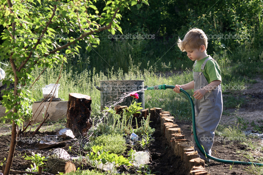 Little Boy Watering Plants In The Garden Stock Photo