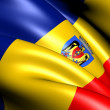 Flag of Bucharest, Romania. - Stock Photo
