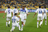 FC Dynamo Kyiv players celebrate after scored a goal — Stock Photo