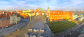 Panoramic view of Old Town Square (Plac Zamkowy) in Warsaw — Stock Photo
