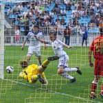 Oleg Gusev of Dynamo Kyiv scores a goal — Stock Photo #10792317