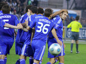 FC Dynamo Kyiv players congratulate Andriy Shevchenko — Stock Photo