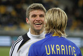 Thomas Muller and Anatoliy Tymoshchuk — Stock Photo