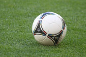 Close-up official UEFA EURO 2012 ball on the grass — Stock Photo