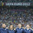 Stock Photo: Italy football team players sing national hymn