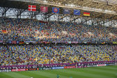 Tribunes of Arena Lviv stadium during UEFA EURO 2012 game betwee — Stock Photo