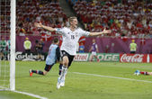 Lars Bender of Germany reacts after he scored against Denmark — Stock Photo