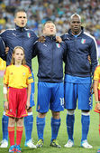 Leonardo Bonucci, Antonio Cassano and Mario Balotelli from Italy — Stock Photo