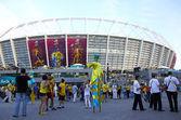 Soccer fans go to the Olympic stadium (NSC Olimpiysky) before U — Stock Photo