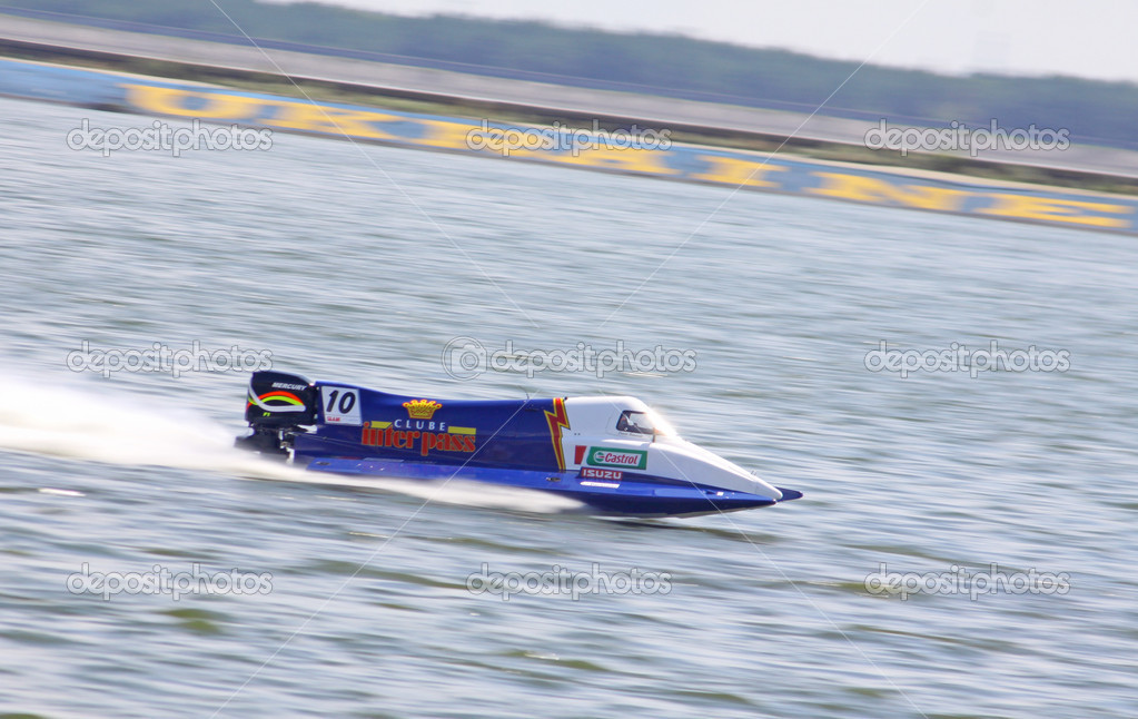 VYSHGOROD, UKRAINE - JULY 29, 2011: Duarte Benavente of F1 Atlantic Team drives during Formula 1 H2O Powerboat World Championship GrandPrix on July 29, 2011 in Vyshgorod, Ukraine  Stock Photo #11749316