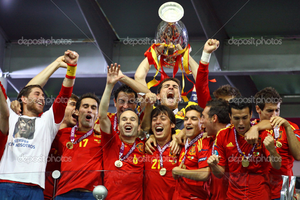 KYIV, UKRAINE - JULY 1, 2012: Spain national football team celebrates their winning of the UEFA EURO 2012 Championship after the game against Italy at NSC Olympic stadium on July 1, 2012 in Kyiv, Ukraine  Stock Photo #11749324