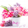Bouquet from tulips and lilac - Stock Photo