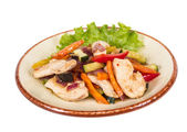 Grilled vegetables and chicken fillet — Stock Photo