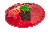 Japanese fresh maki sushi with green seaweed Chuka — Stock Photo