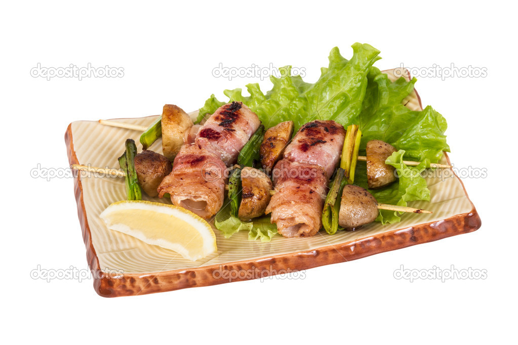 Bacon wrapped grilled Scallops with mushrooms and bacon  Foto Stock #11142747